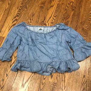Zara off the shoulder jean top size medium